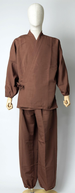 紬風織り仕立作務衣 茶色 正面