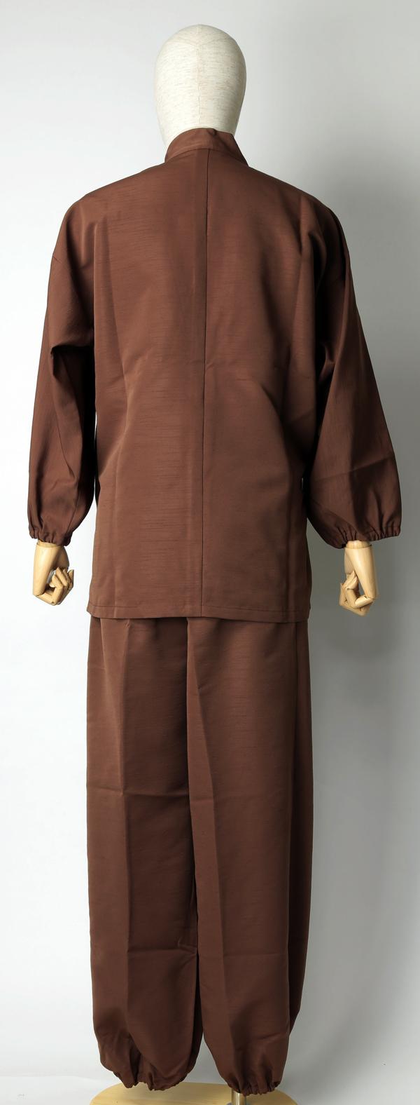 紬風織り仕立作務衣 茶色 後面