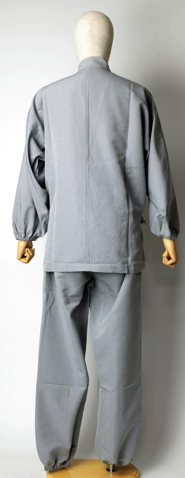 紬風織り仕立作務衣 うす鼠色 側面1