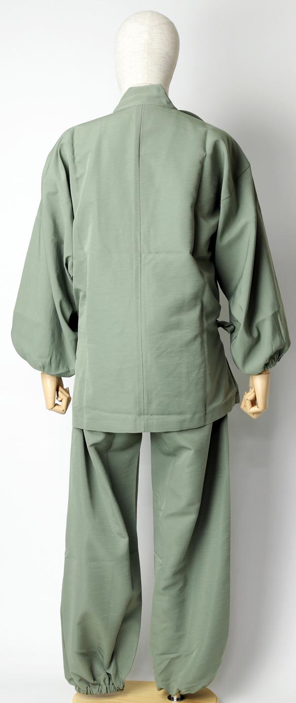 紬風織り仕立作務衣 利休色 後面
