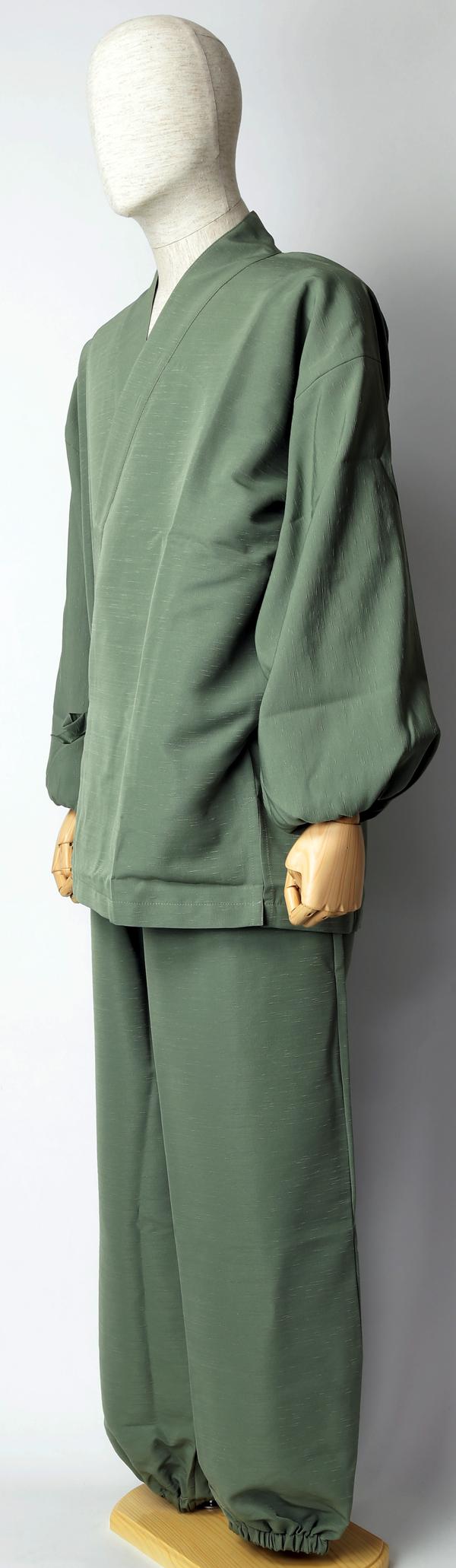 紬風織り仕立作務衣 利休色 正面