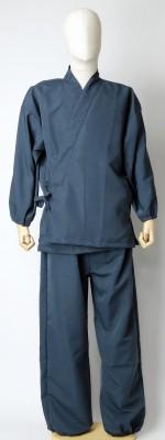 紬風織り仕立作務衣 紺色