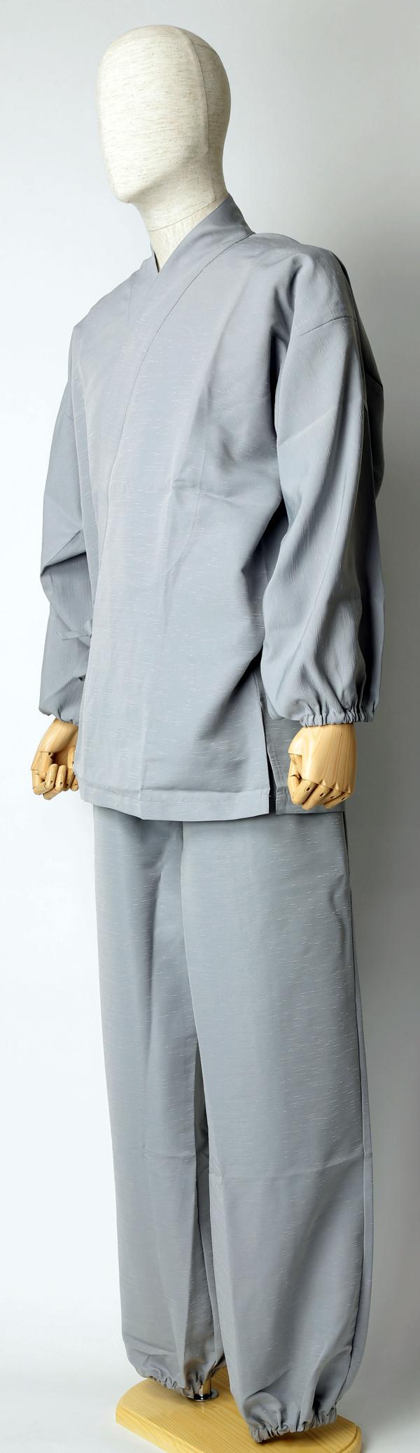 紬風織り仕立作務衣 うす鼠色 側面