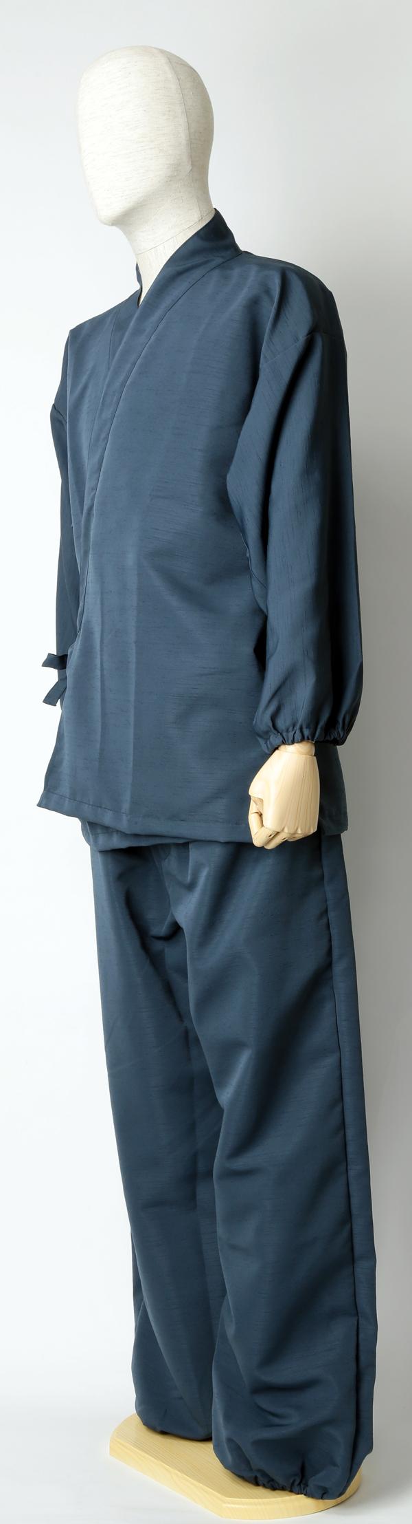 紬風織り仕立作務衣 紺色 側面